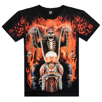 2016 New Mens short sleeve 3D t shirt Man Cotton O neck t Skull Harley print Ghost Rider Europe Size Summer tee,JA141