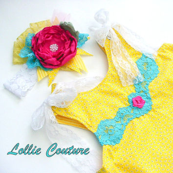 2pc Summer Honey Baby Outfitbaby dress and by lolliecouture