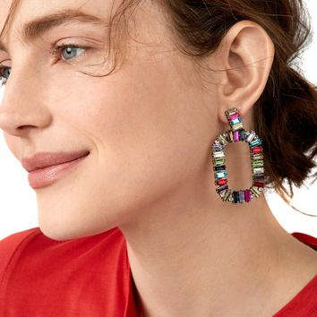 JURAN Colorful Square Crystal Statement Earrings 2018 new arrival Fashion Jewelry ethnic Big Rhinestone earrings for women
