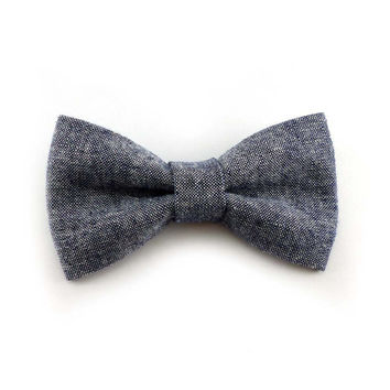 Denim chambray clip on bow tie - mens or womens - navy cotton linen blend - clip-on bowtie adult size
