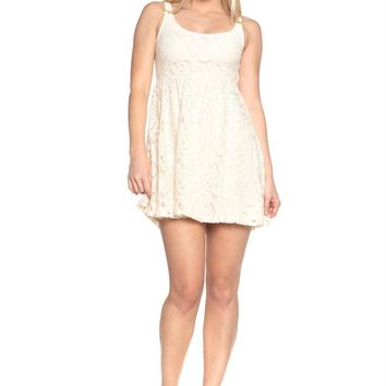 Empire Waist Allover Lace Dress
