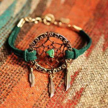 NEW Color Peacock Green Suede Dreamcatcher Anklet Made to Order