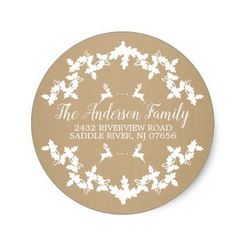 Kraft Holly Berry Return Address Round Sticker