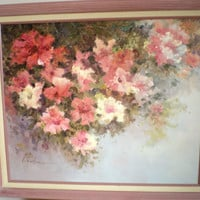 Large Oil Painting, Shabby Chic Pink Feminine Decor, Wall Hanging, Large Picture, Dusty Rose, Floral