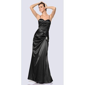 Black Satin Prom Dress Pleated Bodice Strapless Sweetheart Neck