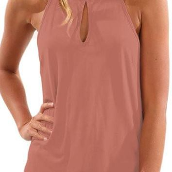 Rose Cut Out Front Sleeveless Curved Hem Top