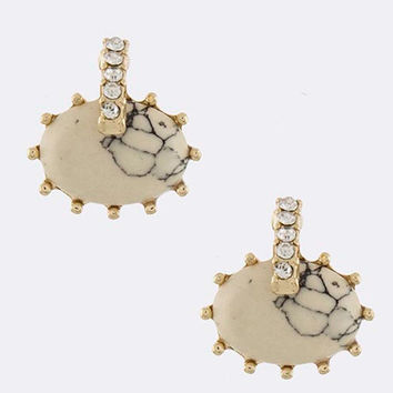 Cream Oval Stone Earrings