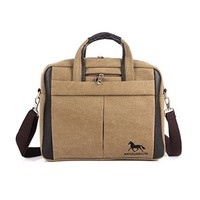 Vere Gloria Mens Canvas Shoulder Bag Tablet Computer Business Handbag Fit for Ipad Everyday Commuting Working Messenger Bags