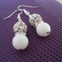 Delicate silver and white bride bridesmaid jewelry earrings gift package shimmering gift idea for her zircon polished shell custom colors