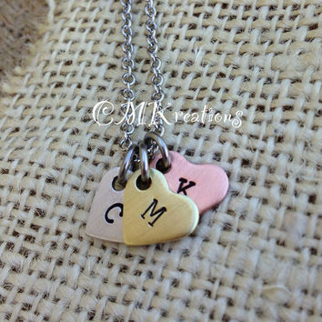 Personalized initial necklace mixed metal hearts by CMKreations