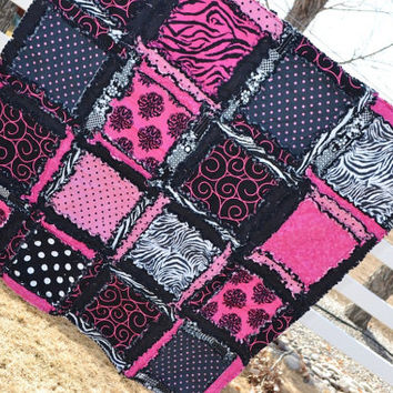 RAG QUILT, Hot Pink, Black, Zebra, Girl, Rockstar, Made to Order, Crib Size