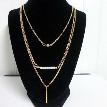 Gold Filled Elegant Layered Necklaces Set of 3 / Skinny Bar Necklace, small Disc, Pearl Bar