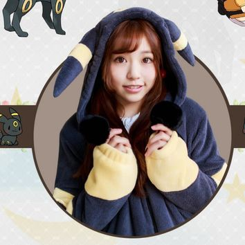 Winter Spring Lovely Hoodie Pokemon Animal Sweatshirt Cotton Coat Cosplay Sun Elf Costume Hoody