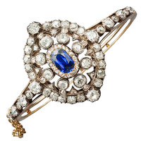 1STDIBS.COM Jewelry & Watches - Hunt & Roskell - HUNT & ROSKELL Sapphire and Diamond Bracelet - Marie E Betteley, Inc