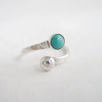 Sterling Silver Bypass Ring,  Turquoise Bypass Ring,  Stacking Ring, Open Ring , Spiral Ring, Wrap Ring, Sterling Silver Rings for Women