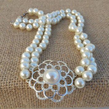 Double strand, vitnage pearl Cezanne necklace