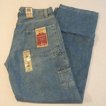 NEW Vintage Men's Signature Levi's Workwear, 33 x 34 Carpenter Jeans 100% Cotton Made in Lesotho Tags On Light Factory Fading No Frays/Tears