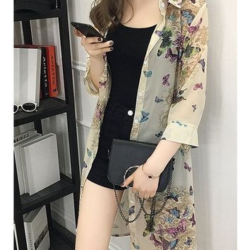 Casual See-Through Butterfly Printed Kimono