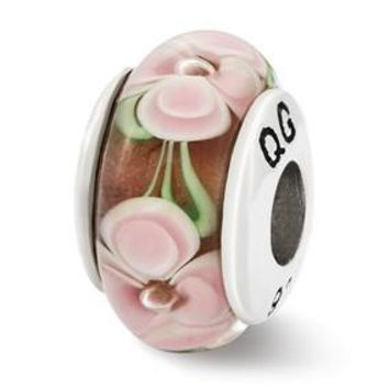 Sterling Silver Light Pink Flower Hand Blown Glass Bead