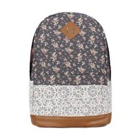 CrazyPomelo Sweet Lace Little Flowers Cotton Cloth & PU Backpack (Smoky Gray)