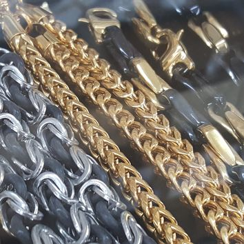 "4-6003-g10 Franco Chain with Bracelet Set, 6mm, 28"" inch and 8.5"" inch bracelet"