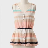 Day By Day Striped Peplum Top