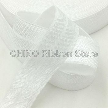 """5/8"""" Solid White Fold Over Elastic Snow White FOE Elastic Ribbon for DIY Headwear Hair Accessories 10Y/lot Many Colors Available"""