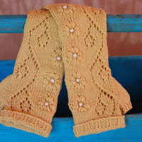 Knit fingerless gloves with lace pattern, long merino wool arm warmers / wrist warmers in brown