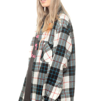 90s Grunge Flannel Shirt Plaid Shirt Button Down Black White Turquoise 1990s Long Sleeve Lumberjack Vintage Men Women Extra Small Medium xs