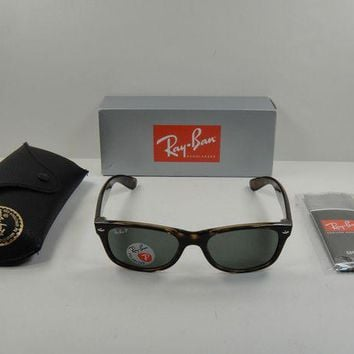 Kalete RAY-BAN NEW WAYFARER POLARIZED SUNGLASSES RB2132 902/58 TORTOISE/GREEN LENS 58MM
