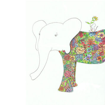 Flower Elephant and Mouse Drawing, Best Friends, Original Watercolor, 8x10 print by Monica Martino