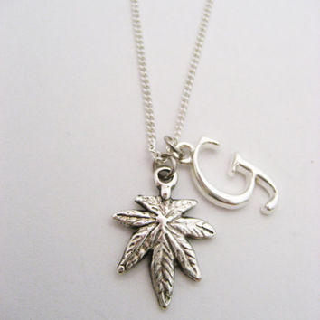 Pot Leaf Necklace Cannabis Necklace Letter Marijuana Jewelry Initial Necklace Leaf Necklace 420 Necklace Customized  Mary Jane Necklace