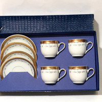 Mitterteich Bavaria Demitasse Set, In Original Box, Set Of 4, Floral Design, Textured Gold Band Trim, By Special Appointment Vintage