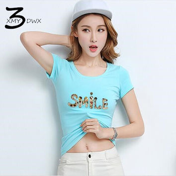 XMY3DWX Women's summer letter printing pure Cotton casual short-sleeved T-shirt/femininity slim Fit Fancy clothes/Casual shirts