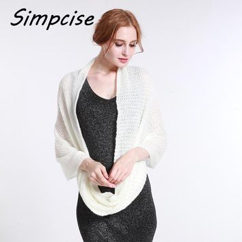 [Simpcise] Fashion Women Winter Warm Knit Loop Scarf Plain Color Soft Shawl Infinity ring Scarves Neck Warmer A6A16851