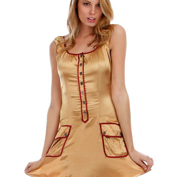 GOLD SATIN BUTTON-UP DRESS WITH RUFFLE SLEEVES AND FRONT POCKETS