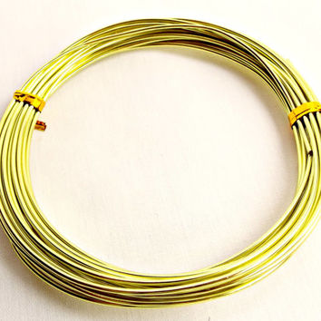 Aluminum Wire, Pale Green Wire, Aluminium Wire, 18 Feet, 14 Gauge Wire, Wire Wrapping, Craft Wire, Jewelry Supplies, Pale Lime Green