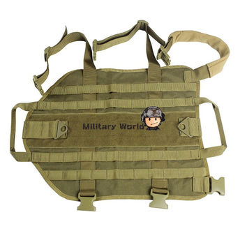 Tactical Nylon Dog Training Molle Vest Hunting Combat Harness Durable Adjustable Dog Vest Coyote Brown