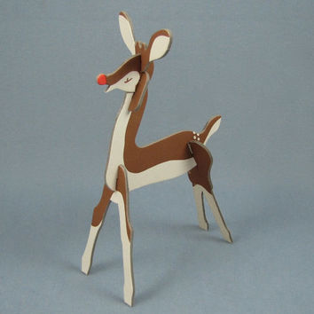 Nose So Bright - Rare Vintage 40s Rudolph Stand Up Puzzle Toy, Montgomery Ward Christmas 1947 Promo Item, Unpunched on Card