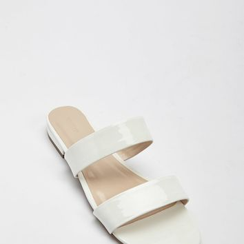 Faux Patent Leather Double-Strap Slides
