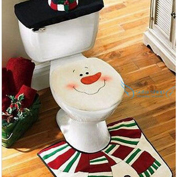 Christmas Decoration For Home Santa Toilet  3pcs. Seat Cover & Rug Bathroom Se Santa Claus Christmas Ornament