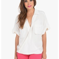 White Shelly Criss Cross Top   $10.00   Cheap Trendy Blouses Chic Discount Fashion for Women   ModD