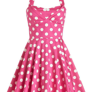 Pink Polka Dot Sleeveless Halter Mini Tent Dress