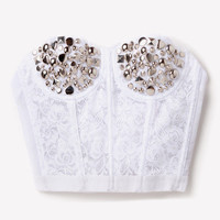 White Silver Studded Lace Bustier