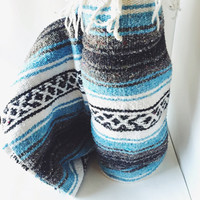 Vintage Mexican Blanket, Serape, Teal, Blue, White, Black, Gray, Boho, Home Decor, Bedding, Throw Blanket, Yoga Mat