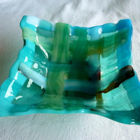 Fused Glass Dish in Woven Strips of Turquoise, Green and Aqua