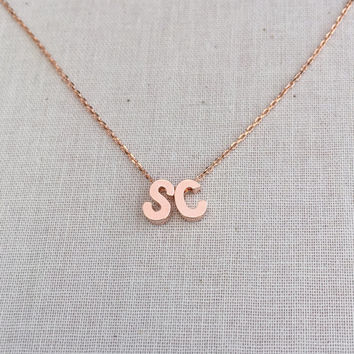 Two Small Personalized Uppercase Block Initials Necklace in Rose Gold with a Dainty Rose Gold Chain