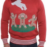 Ugly Christmas Sweater - Gingerbread Nightmare Sweater (Red) by Tipsy Elves -Large
