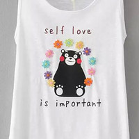 White Letter Bear Print Embroidered Sleeveless Tank Top