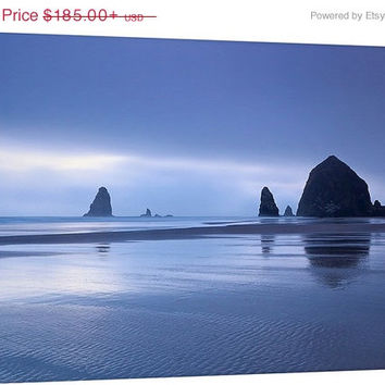 Cannon Beach Photography Canvas Gallery Wrap Large Wall Art Oversized Print Oregon Coast Haystack Rock Navy Blue Purple Coastal Decor
